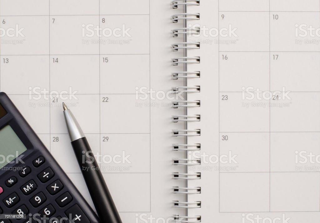 Calculadora calendario - foto de stock