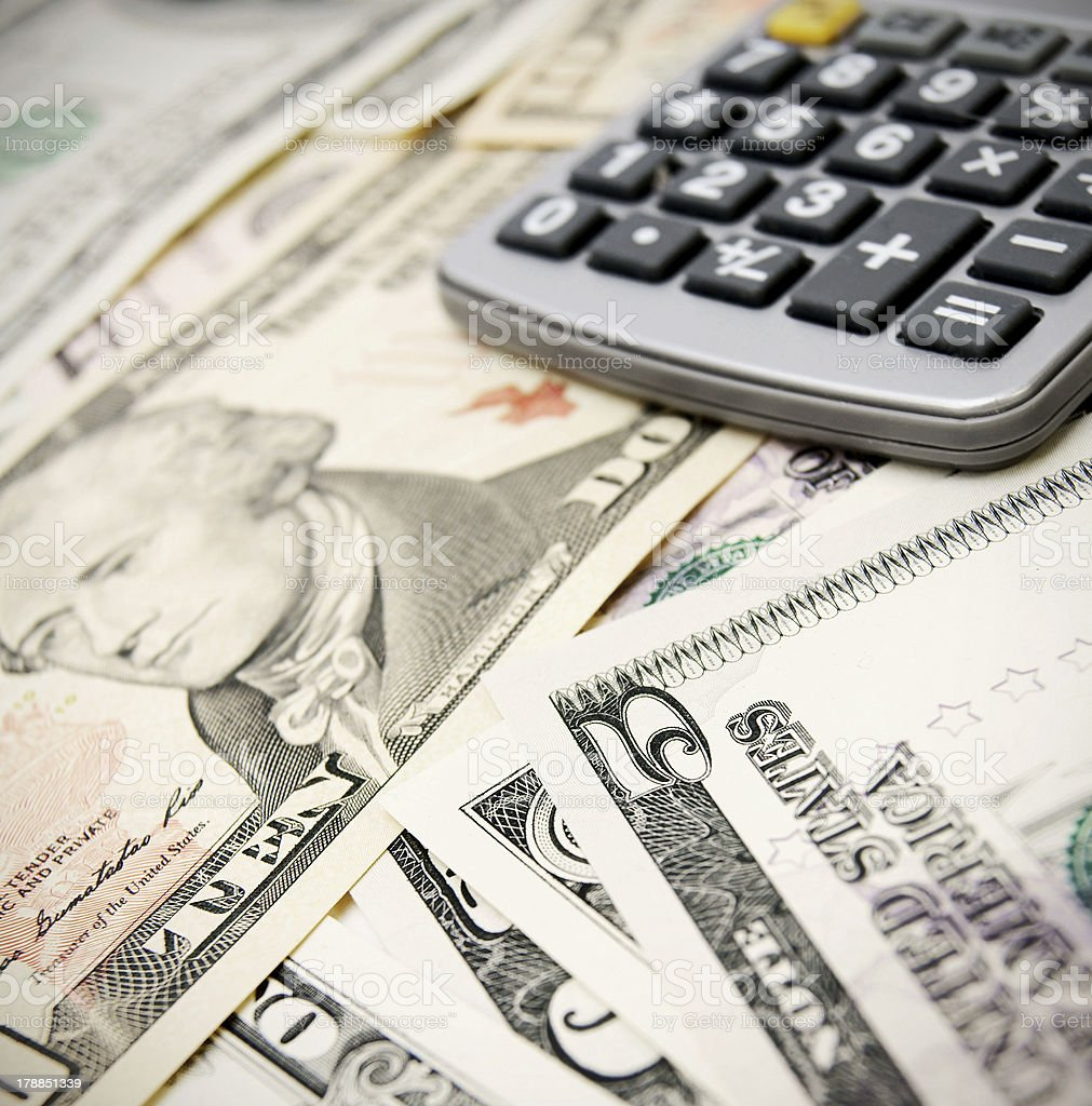 Calculator on dollars. royalty-free stock photo
