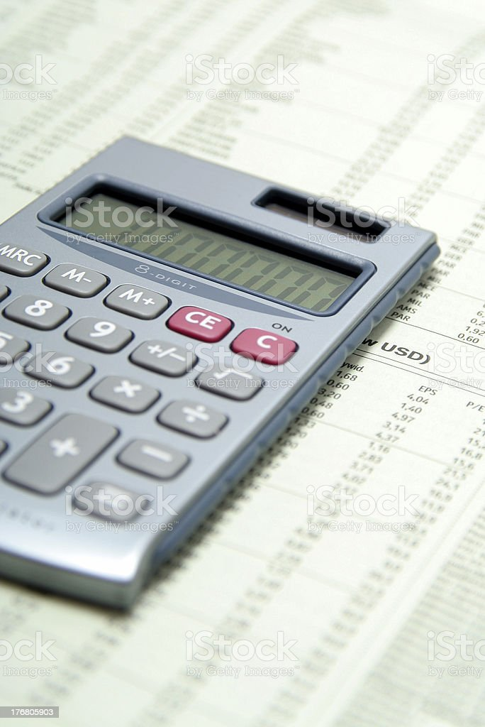 Calculator On Financial Paper royalty-free stock photo