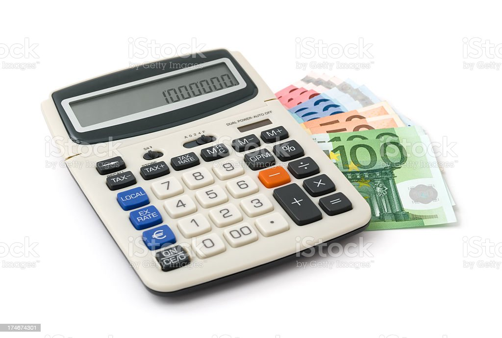 Calculator on heap of euro notes royalty-free stock photo