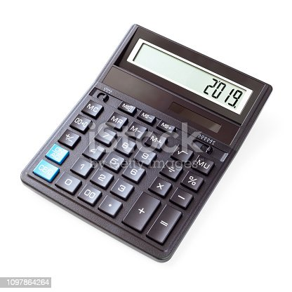 istock Calculator on white background 1097864264