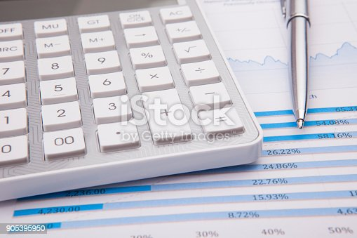 istock Calculator, pen and business balance 905395950