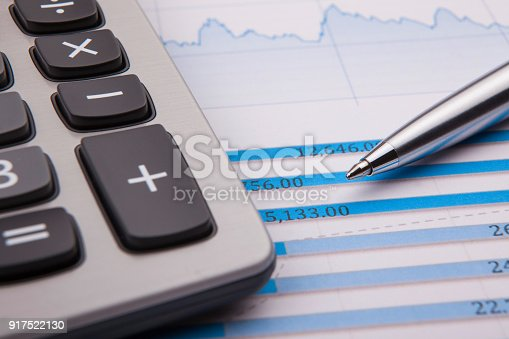 istock Calculator, pen and business balance 917522130