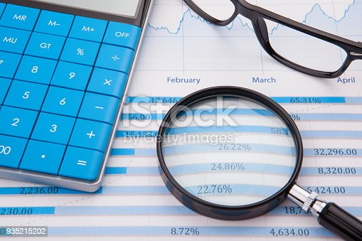 istock Calculator, pen and business balance 935215202