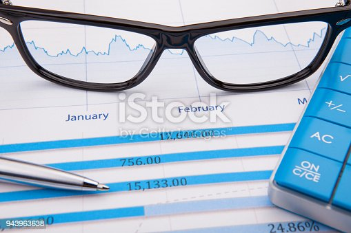 istock Calculator, pen and business balance 943963638