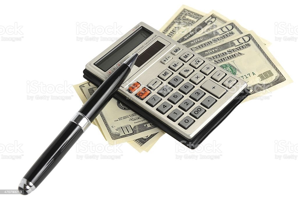 Calculator, pen and money isolated on white background royalty-free stock photo
