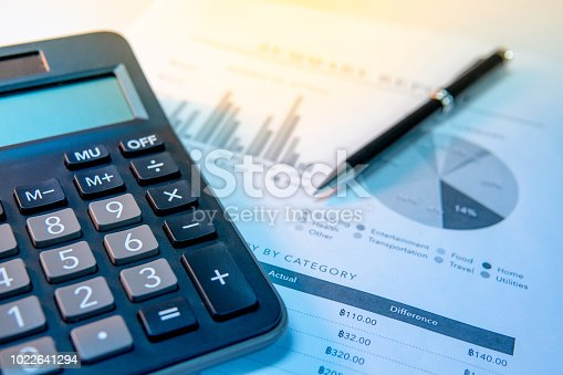 istock Calculator, pen and summary report paperwork with bar graph, pie chart and table. Financial data analysis. Business planning and management concept 1022641294