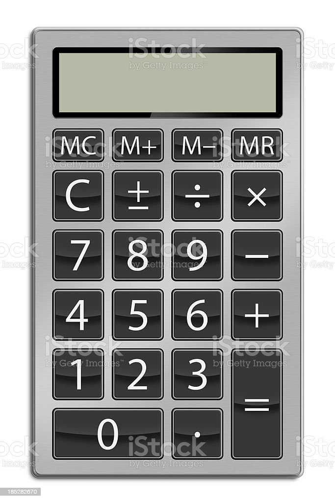 Calculator Calculator has a round edged metallic body and big buttons. Clean image and isolated on white background. Business Stock Photo