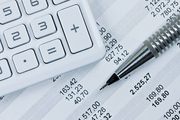 calculator calculator close up bank statement stock pictures, royalty-free photos & images