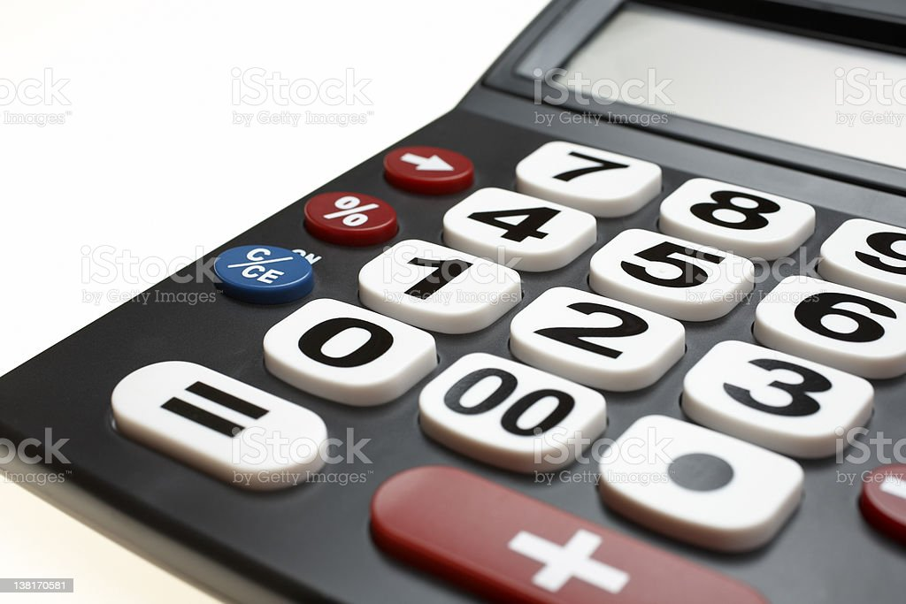 Calculator with big numbers isolated royalty-free stock photo