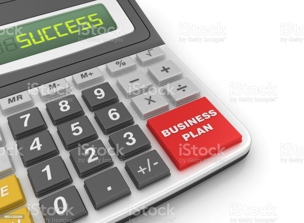 Calculator with Business Plan Concept - 3D Rendering royalty-free stock photo