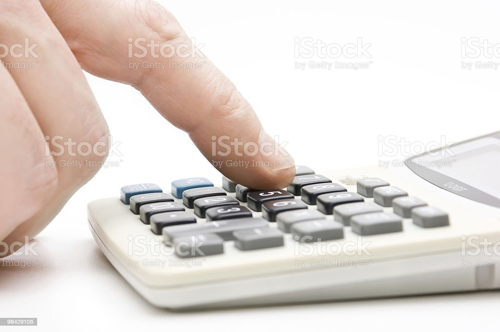 calculator  with finger royalty-free stock photo