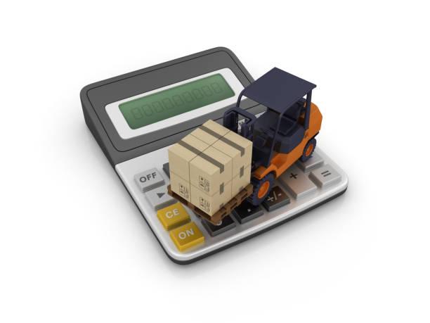 calculadora con montacargas - render 3d - suministros escolares fotografías e imágenes de stock