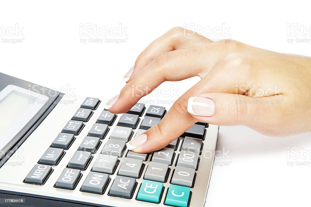calculator with hand royalty-free stock photo