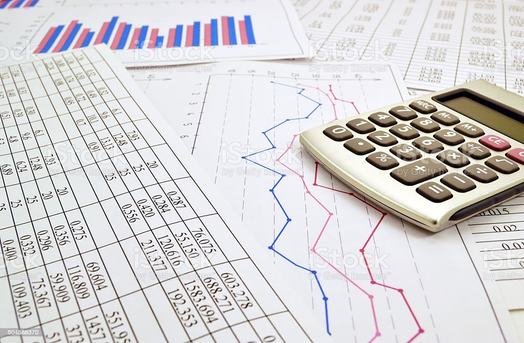 Calculator with numbers stock photo