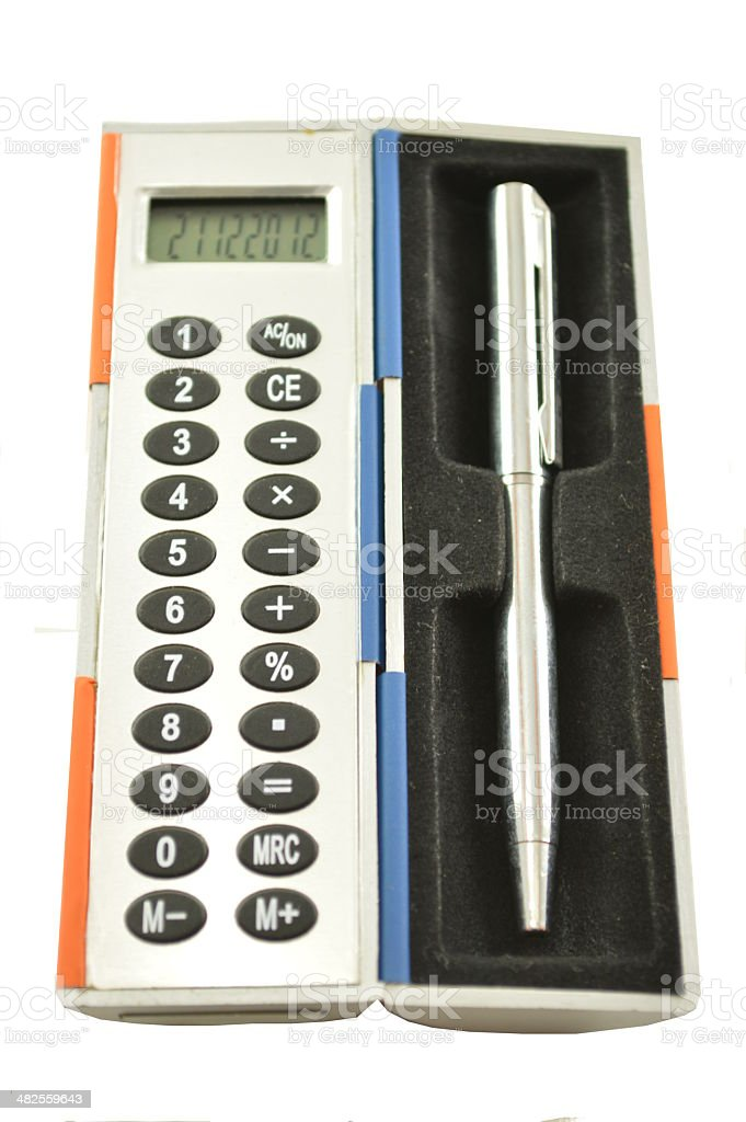 Calculator with pen royalty-free stock photo