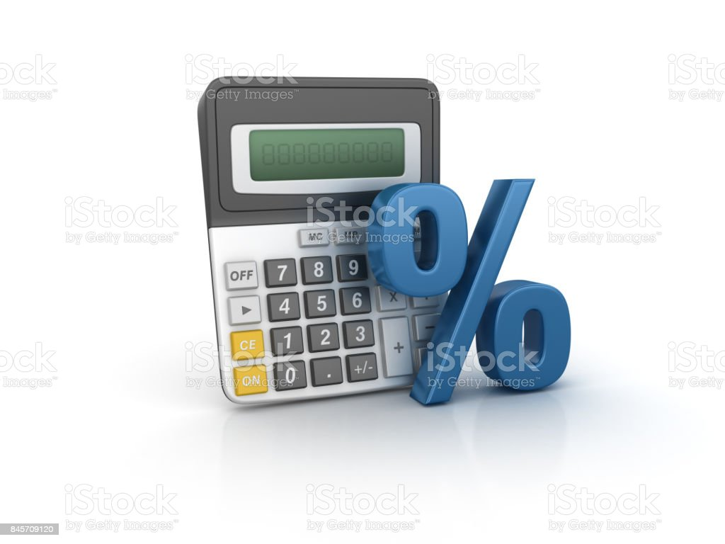 Calculator with Percentage Sign - 3D Rendering stock photo