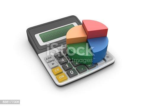 istock Calculator with Pie Chart - 3D Rendering 838177008