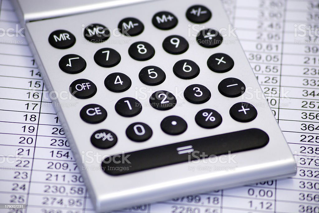 Calculator with spreadsheet royalty-free stock photo