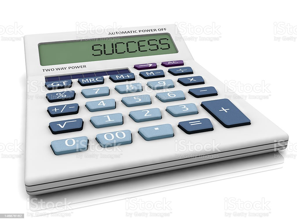 3D calculator with SUCCESS. royalty-free stock photo