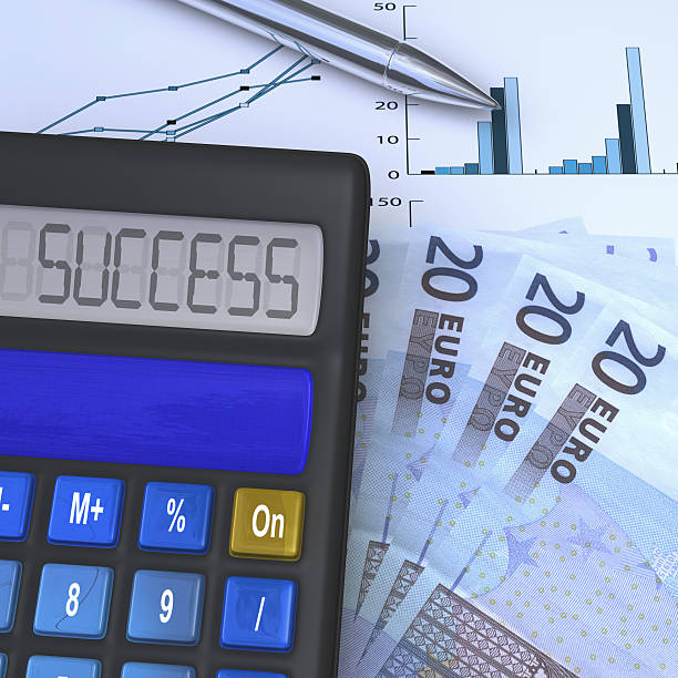 calculator with success result and 20 eurio fan - 8 infographic stock photos and pictures