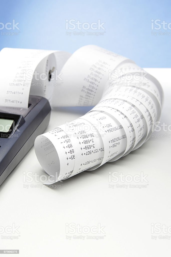 Calculator with tape royalty free stockfoto