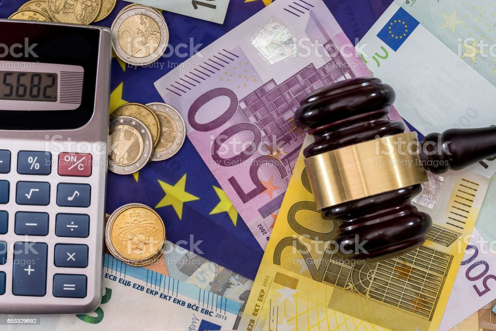 calculator with the European flag on the background of the euro stock photo