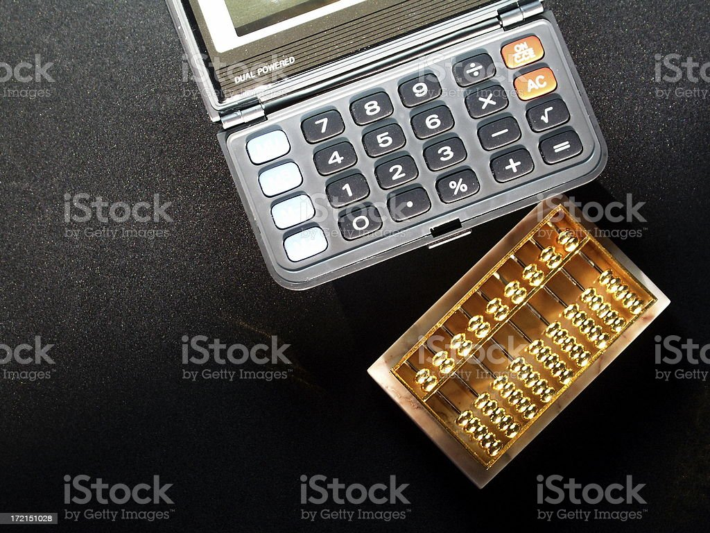 Calculators: Electronic And Abacus royalty-free stock photo