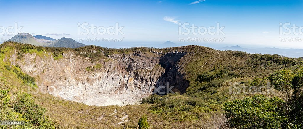 caldera of Mahawu volcano, Sulawesi, Indonesia stock photo