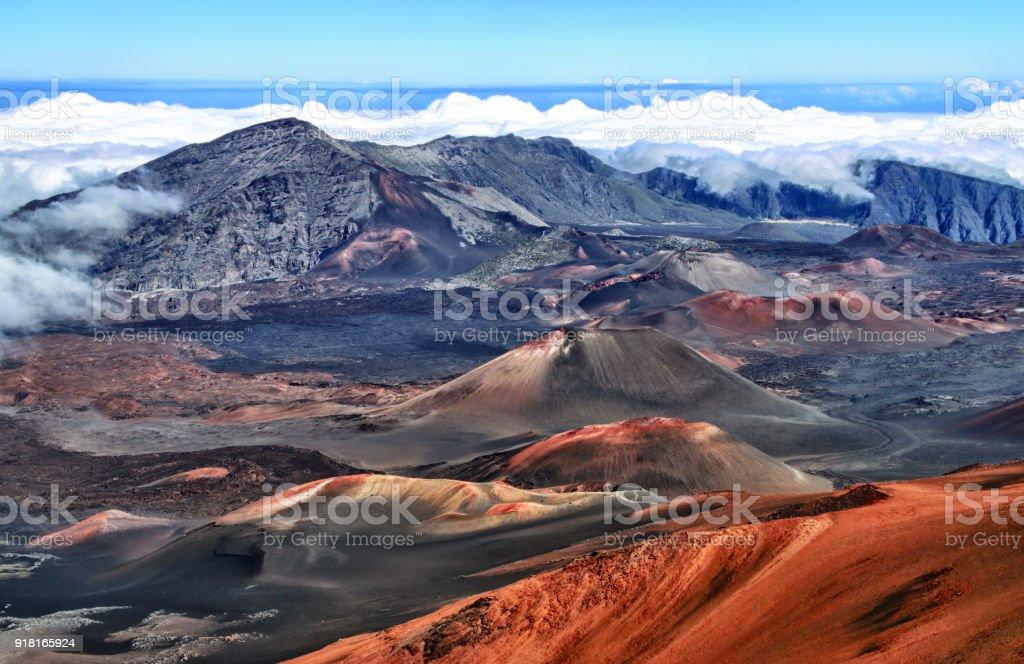 Caldera of the Haleakala volcano HDR (Maui, Hawaii) stock photo