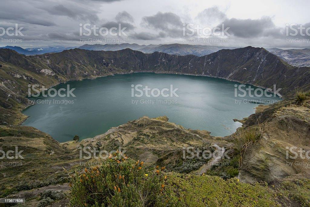 Caldera of the Quilotoa volcano stock photo