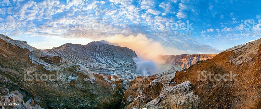 Caldera of the Volcano Ijen. stock photo
