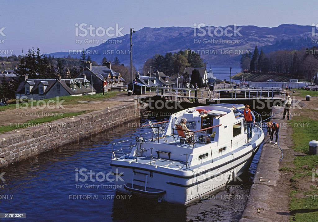 Caledonian Canal at Fort Augustus Loch Ness stock photo