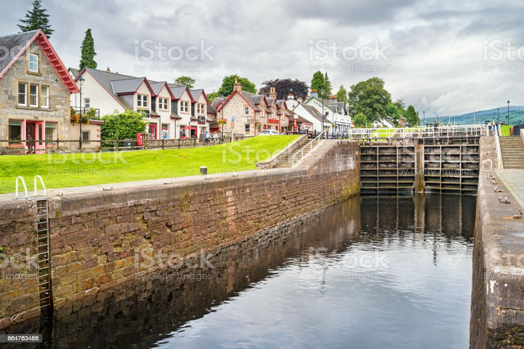 Caledonian Canal in Fort Augustus Scotland stock photo
