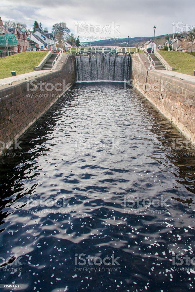 Caledonian canal lock gate Fort Augustus, Scotland stock photo