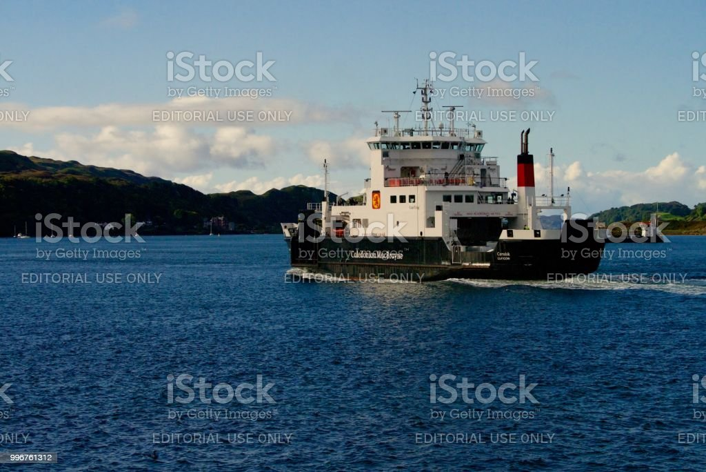 Caledonian MacBrayne ferry sailing out of Oban, Scotland stock photo