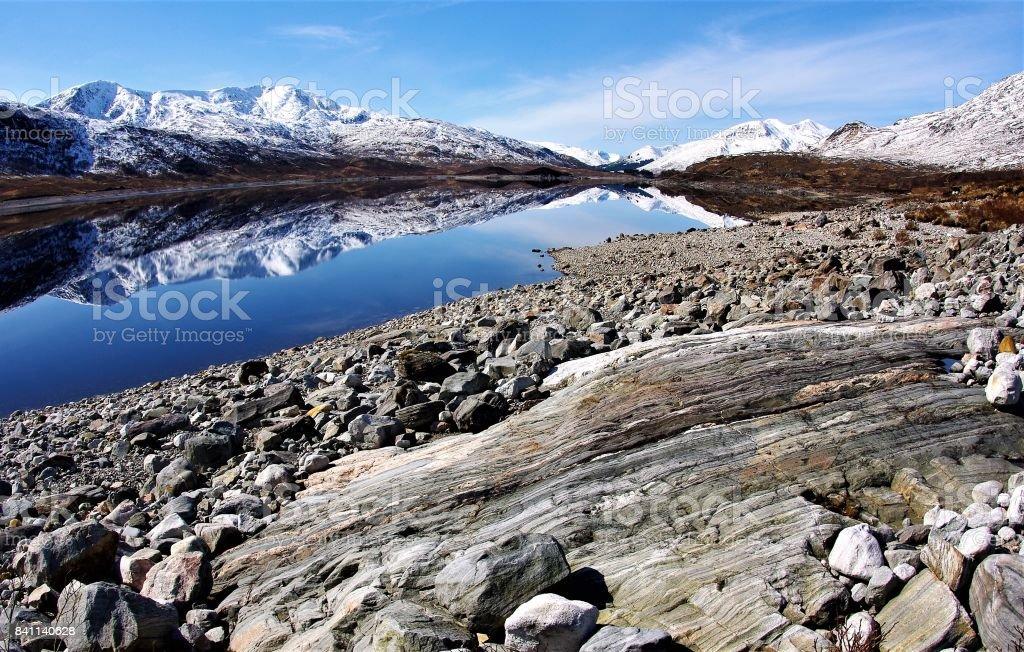 Caledonian Reflections - Loch Cluanie, Glen Shiel, Scotland stock photo