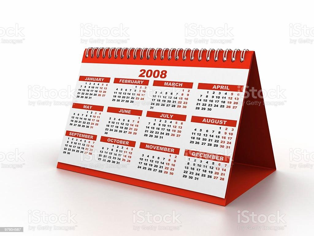 Calendar 2008 stock photo