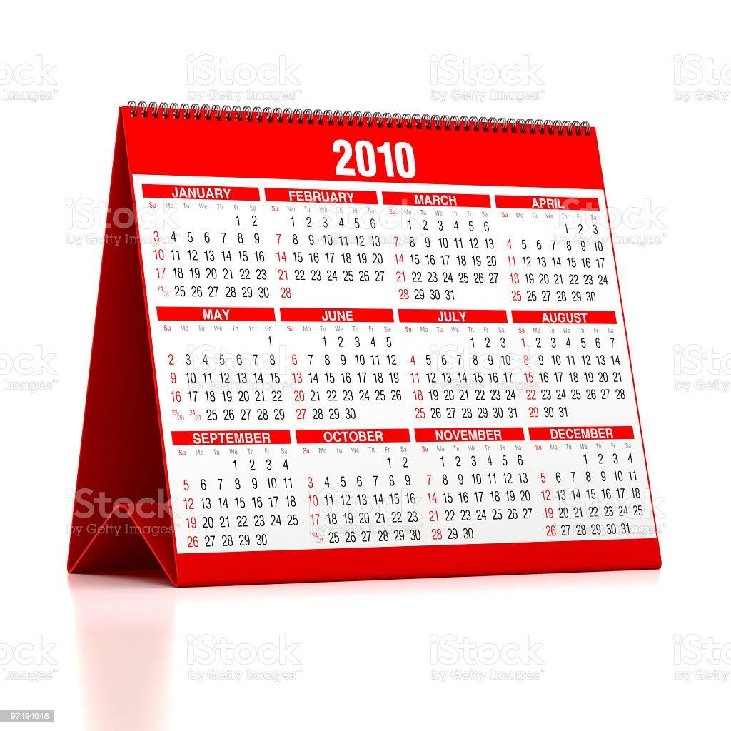 Calendar: 2010 royalty-free stock photo