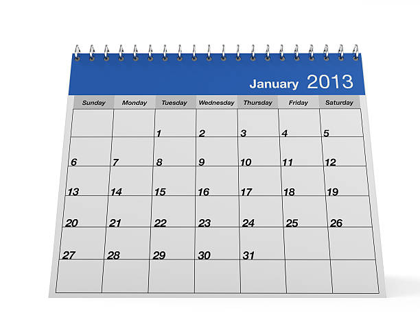 Calendar 2013 January One page desk calendar 2013 with metal spring. This is a 3D render. 2013 stock pictures, royalty-free photos & images
