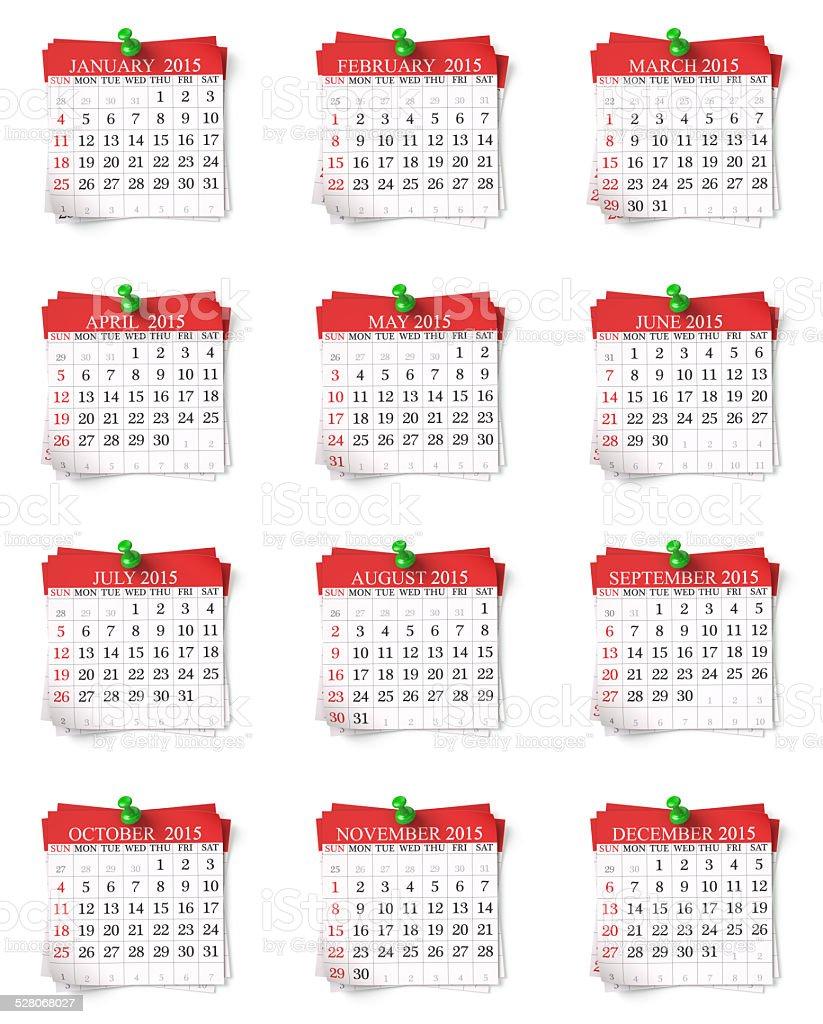 Calendar 2015 3d render stock photo