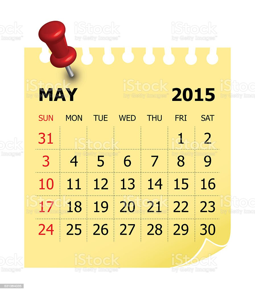 Calendar 2015 - May stock photo