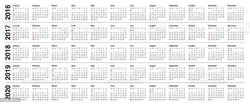 Calendario Fotografico 2020.Calendario 2016 2017 Il 2018 2019 Il 2020 Fotografie Stock