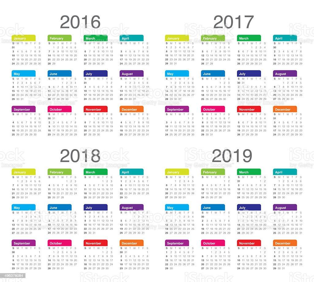 2017 2018 2019 Ford Price: Calendario De 2016 2017 De 2018 2019 Foto De Stock Y Más