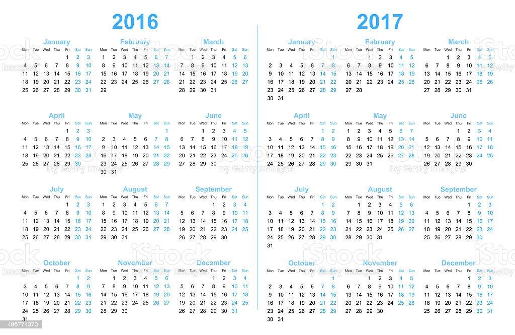 Calendar 2016 and 2017 stock photo
