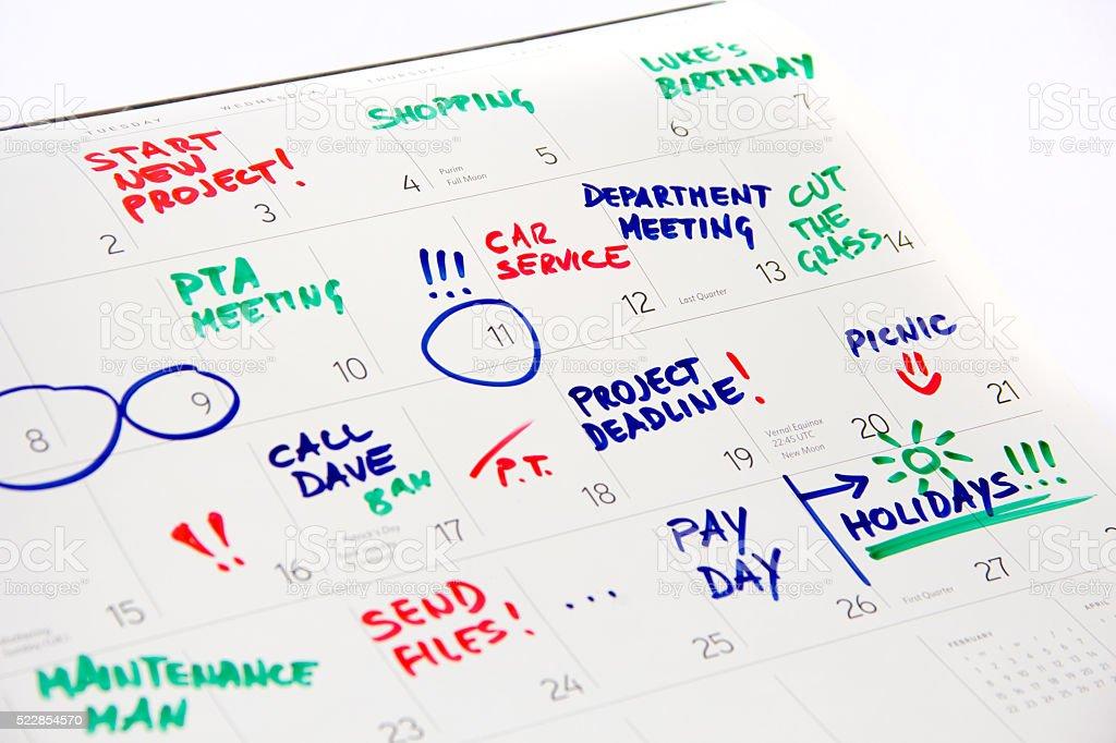 Calendário de 2016 ocupado mês inteiro de eventos - foto de acervo