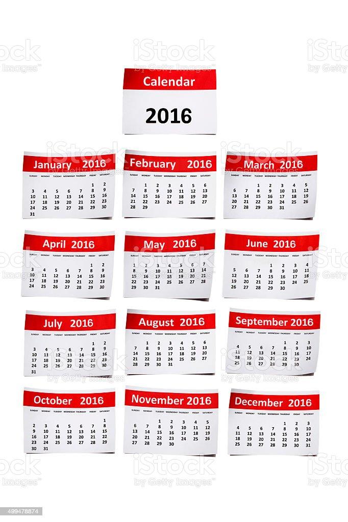 Calendário de 2016 - foto de acervo