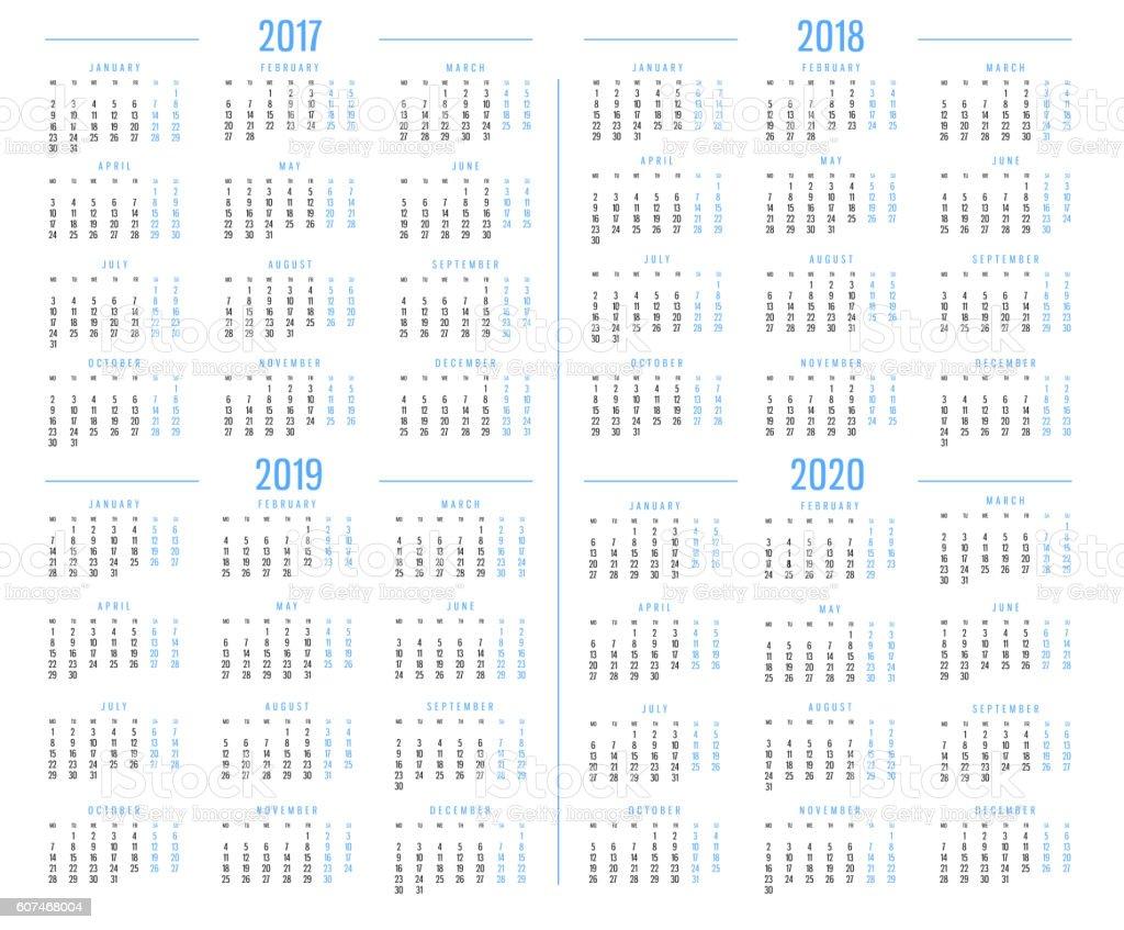 Calendar 2017,2018,2019,2020 stock photo