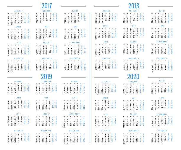 Calendar 2017,2018,2019,2020 - foto de stock