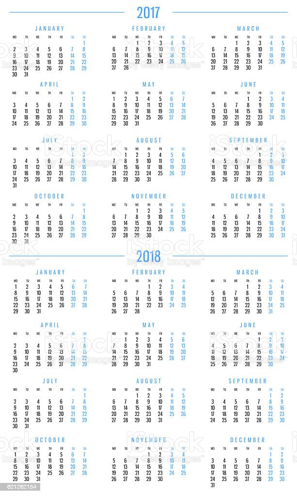 Calendar 2017 and 2018 stock photo